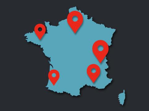 Carte du réseau de garages de Dynaparts